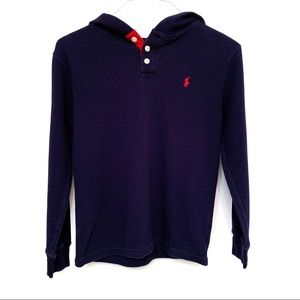 Polo Ralph Lauren 3 Button Waffle Knit Hooded Top